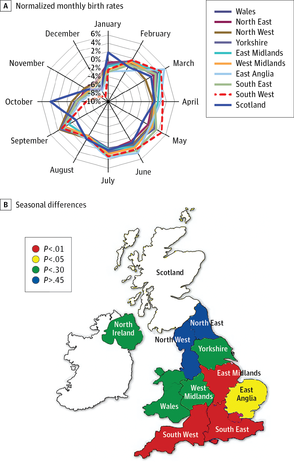 Time And Region Specific Season Of Birth Effects In Multiple